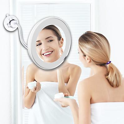 abordables Accessoires de Bain-miroir de maquillage flexible de miroir mené avec des miroirs de courtoisie à lumière LED 10x miroirs grossissants miroir cosmétique léger