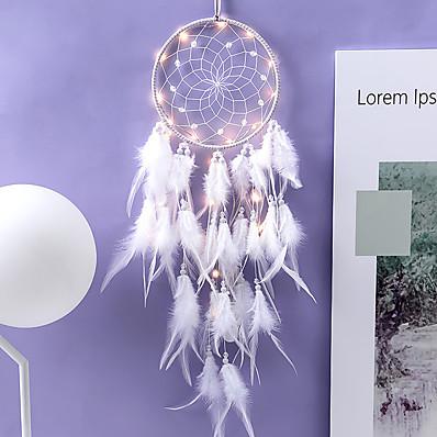 cheap Wall Art-Innovative Dream Catcher Pendant Hand-Woven Ornaments Handmade Birthday Gift Dreamcatcher with Lights Home Room Decoration