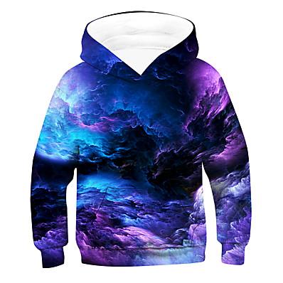 cheap Boys' Clothing-Kids Boys' Active Basic Galaxy Long Sleeve Hoodie & Sweatshirt Purple