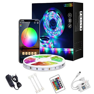 abordables Bandes Lumineuses LED-led bande lumières wifi 32.8ft 10m app contrôle wifi intelligent 5050 rgb (1 * 10m) led bande douce avec contrôleur ir 24 touches pour l'éclairage domestique de bricolage