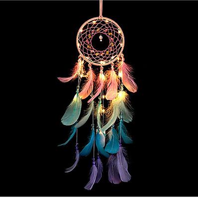 abordables Déco & Lumière De Nuit-dreamcatcher led plume coloré veilleuse à la main carillon de vent ornements vacances noël événements de mariage décoration saint valentin anniversaire cadeau romantique