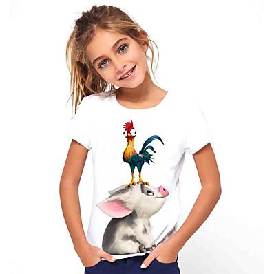 cheap KIDS-Kids Girls' Basic Holiday Animal Print Short Sleeve Tee White