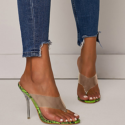 cheap Slippers-Women's Slippers & Flip-Flops Stiletto Heel Open Toe Daily PU Summer Green Beige