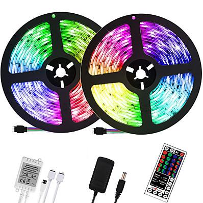 abordables Bandes Lumineuses LED-LOENDE 2x5M bandes lumineuses LED Ruban LED Flexibles Ensemble de Luminaires Barrette d'Eclairage RGB 600 LED 2835 SMD 8mm 1 set RGB Noël Nouvel An Découpable Soirée Décorative 100-240 V  Auto-Adhésiv
