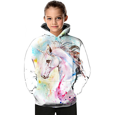 cheap Girls' Clothing-Kids Toddler Girls' Active Basic Fantastic Beasts Unicorn Geometric Color Block Animal Print Long Sleeve Hoodie & Sweatshirt White