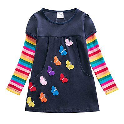 abordables Vêtements pour Filles-Enfants Fille Fleur Actif Papillon Rayé Mosaïque Jacquard Noeud Brodée Manches Longues Mi-long Robe Fuchsia