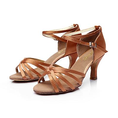 abordables Talons Hauts-Femme Chaussures Latines Salon Chaussures de Salsa Danse en ligne Sandale Boucle Talon Personnalisé Léopard Nu Noir Boucle Adultes