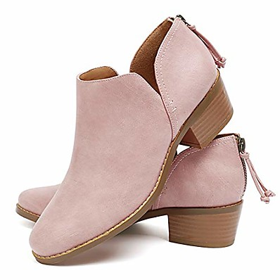 cheap Boots-Women's Boots Block Heel Boots Chunky Heel Booties Ankle Boots Casual Minimalism Daily Solid Colored Black Pink Beige