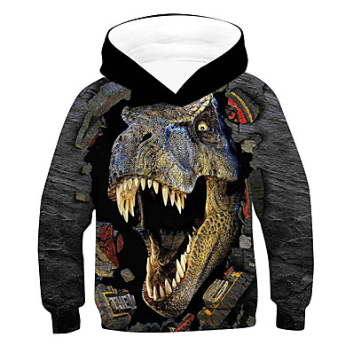 cheap Boys' Clothing-Kids Boys' Hoodie & Sweatshirt Long Sleeve Dinosaur Color Block 3D Animal Print Gray Children Tops Active Basic Streetwear Children's Day