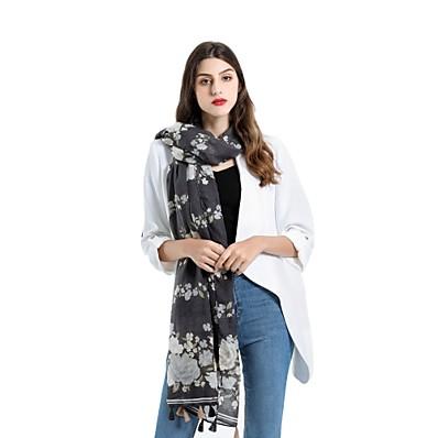 cheap Scarves & Bandanas-Women's Tassel Rectangle Scarf - Floral Washable