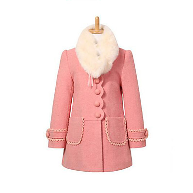 cheap Kids-Girls' Jacket & Coat Red Pink Patchwork Daily / Fall / Winter / Spring / Long