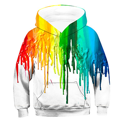 cheap Boys' Clothing-Kids Boys' Active Basic Striped Long Sleeve Hoodie & Sweatshirt Rainbow