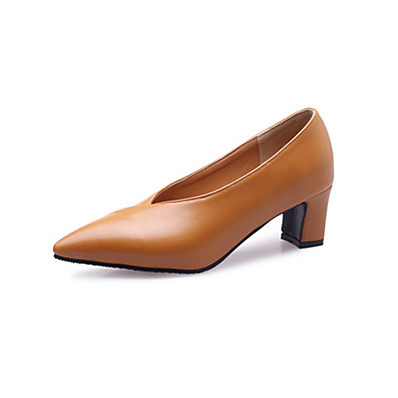 cheap Pumps & Heels-Women's Loafers & Slip-Ons Wedge Heel Pointed Toe Casual Daily PU Solid Colored Almond Black Yellow