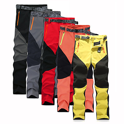 cheap Camping, Hiking & Backpacking-Men's Hiking Pants Patchwork Summer Outdoor Regular Fit Waterproof Breathable Quick Dry Ultra Light (UL) Pants / Trousers Bottoms Black Yellow Red Grey Orange Camping / Hiking Fishing Climbing M L XL