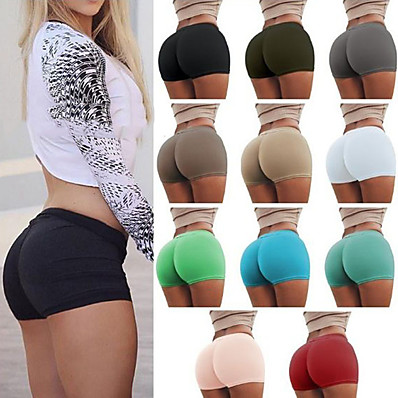 cheap Valentine's Gifts-Women's Yoga Shorts Shorts Bottoms Tummy Control Butt Lift Breathable White Black Blue Yoga Fitness Gym Workout Sports Activewear Stretchy