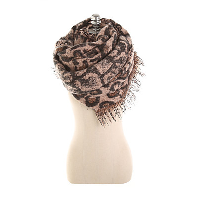 cheap Scarves & Bandanas-Women's Tassel Rectangle Scarf - Leopard Washable