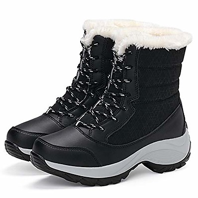 cheap SHOES-Women's Boots Snow Boots Booties Ankle Boots Sporty Waterproof Outdoor Hiking Shoes Walking Shoes Color Block Winter Black Red Gray