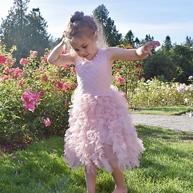 cheap Kids-Kids Toddler Little Girls' Dress Butterfly Solid Colored Flower Birthday Party Ruched Lace White Blushing Pink Midi Sleeveless Active Cute Dresses Regular Fit