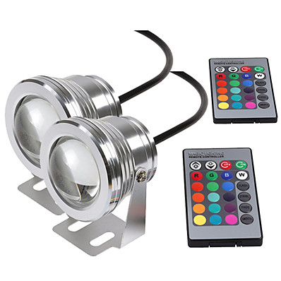 cheap Outdoor Lighting-Submersible Light Underwater Light LED Waterproof Flood Light with Remote Control 10W DC12V RGB 16Colors Outdoor Garden Spotlight Landscape Fountain Pond Light 1PC 2 PCS