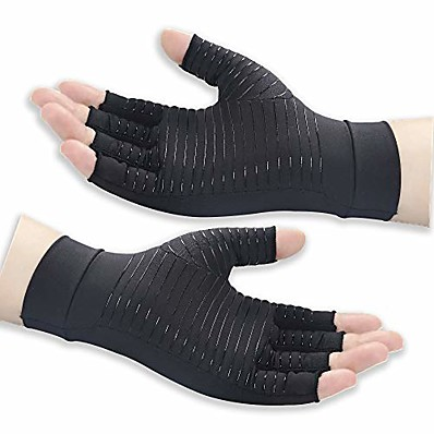 cheap Health & Personal  Care-Copper Arthritis Gloves for Women and Men High Copper Content Compression Gloves for Pain Relief of Swelling Hand Pain Tendinitis and Arthritis Black