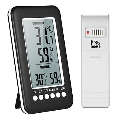 cheap Electrical & Tools-LCD Digital Wireless Indoor/Outdoor Thermometer Hygrometer / Temperature Humidity Meter with Max Min Value Display Transmitter
