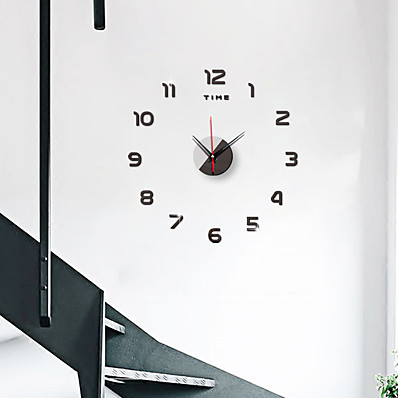 cheap Wall Clocks-Nordic Living Room Decoration 3D Wall Sticker DIY Digital Clock Personalized Home Mirror Wall Clock Silent Wall Clock 40cm*40cm