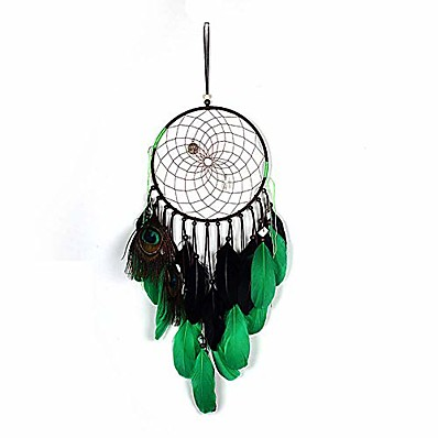 cheap Home Decor-Boho Dream Catcher Handmade Gift Wall Hanging Decor Art Ornament Craft Peacock Feather 67*20cm for Kids Bedroom Wedding Festival