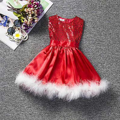 cheap Girls' Clothing-Kids Girls' Cute Solid Colored Lace Pleated Sleeveless Knee-length Dress Red