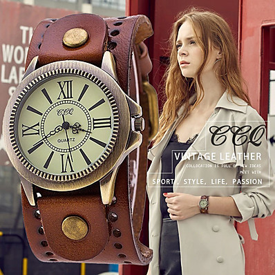 cheap Jewelry & Watches-vintage leather strap wide band wristwatch cuff quartz watch for men - brown