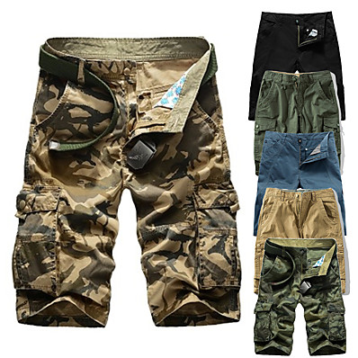 "cheap Camping, Hiking & Backpacking-Men's Hiking Shorts Hiking Cargo Shorts Solid Color Summer Outdoor 10"" Standard Fit Breathable Quick Dry Sweat-wicking Comfortable Shorts Bottoms Jungle camouflage Black Blue Army Green Camouflage"