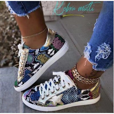 cheap Sneakers-Women's Sneakers Comfort Shoes Flat Heel Round Toe Casual Daily Walking Shoes Canvas Animal Patterned Black / White Brown Rainbow