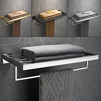 cheap Bath Accessories-Brushed Double Towel Bar Stainless Steel Bathroom Towel Rack Shelf Wall Mount Contemporary Style Use for Bathroom/Kitchen/Living Room 30/40/50/60CM