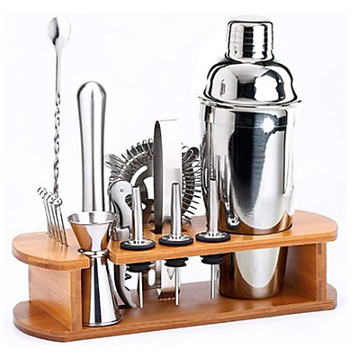 cheap Kitchen & Dining-Insulated Cocktail Shaker Bartender Kit Cocktail Shaker Mixer Stainless Steel 350ml Bar Tool Set with Stylish Bamboo Stand Perfect Home Bartending Kit and Martini Cocktail Shaker Set