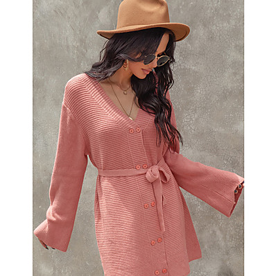 cheap Knit Tops-Women's Sweater Jumper Dress Knee Length Dress - Long Sleeve Solid Color Button Spring Fall Casual Daily 2020 Black Yellow Blushing Pink S M L XL