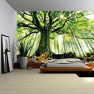 cheap Home Decor-nature forest thick tree wall tapestry large 3d print wall art hanging for bedroom living room dorm decor, w79 x t59,green and white