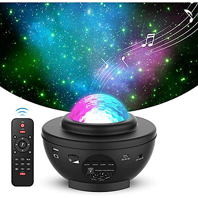 cheap Audio & Video-LED Star Night Light Wave Sky Starry Galaxy Projector Blueteeth USB Voice Control Music Player 360 Rotation Night Lighting Lamp