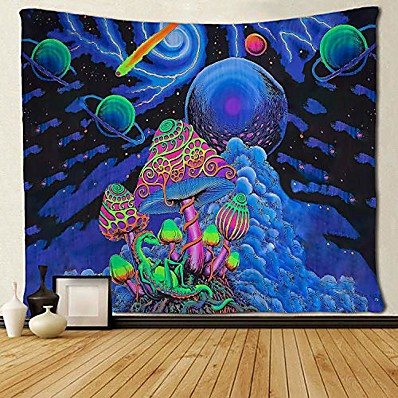 cheap Wall Hangings-Psychedelic Abstract Wall Tapestry Art Decor Blanket Curtain Picnic Tablecloth Hanging Home Bedroom Living Room Dorm Decoration Polyester Arabesque Mushroom Trippy Mountain Galaxy Forest