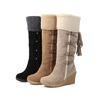 cheap Boots-Women's Boots Snow Boots Wedge Heel Round Toe Knee High Boots Casual Daily Suede Tassel Lace-up Solid Colored Winter Black Yellow Beige / Mid-Calf Boots