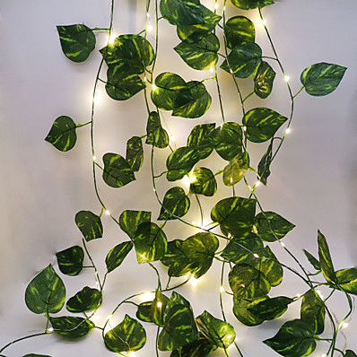 cheap LED String Lights-2.3M 30LEDs New Green Leaf Vine LED String Lights AA Battery Operated Fairy Lights Family Party Wedding Valentine's Day Garden Decoration Lights