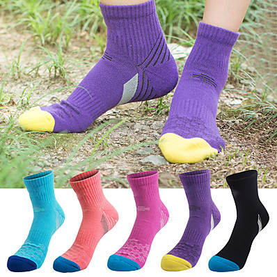 cheap Camping, Hiking & Backpacking-Women's Hiking Socks Running Socks Crew Socks 5 Pairs Summer Outdoor Breathable Moisture Wicking Anti Blister Soft Socks Letter & Number Cotton for Camping / Hiking Fishing Climbing