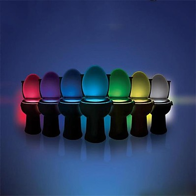 billiga Inomhusbelysning-ywxlight® 8 färgtoalett skållampa ledd toalett lampa mänsklig rörelse sensor ljus badrum toalett natt ljus pir automatiskt aktiverat