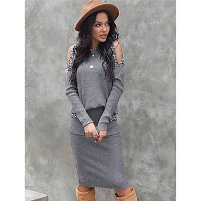 cheap Knit Tops-Women's Two Piece Set Basic Sequins Cut Out Sweater Tops Skirt Set Solid Color