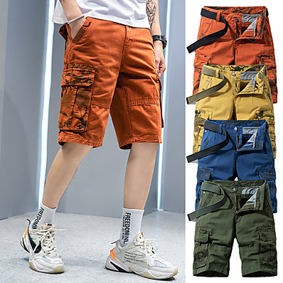 """cheap Camping, Hiking & Backpacking-Men's Hiking Shorts Hiking Cargo Shorts Camo Summer Outdoor 10"""" Standard Fit Breathable Quick Dry Sweat-wicking Multi-Pocket Cotton Shorts Bottoms Army Green Blue Orange Khaki Camping / Hiking"""