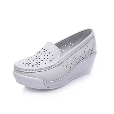 abordables Sneakers-Femme Sabot & Mules Hauteur de semelle compensée Bout rond Simple Quotidien Cuir Couleur Pleine Eté Blanche Bleu clair