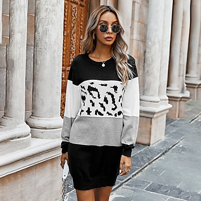 cheap Knit Tops-Women's Basic Knitted Color Block Dress Long Sleeve Sweater Cardigans Crew Neck Round Neck Fall Black Purple Orange