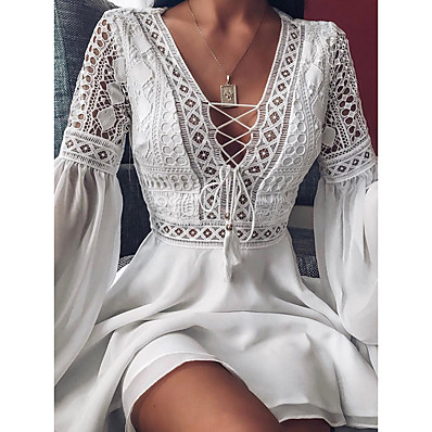 cheap Valentine's Gifts-Women's A Line Dress Short Mini Dress White Black Red Long Sleeve Solid Color Ruffle Patchwork Chiffon Spring Summer Slim V Neck Hot Sexy Holiday 2021 S M L XL