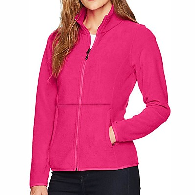cheap Camping, Hiking & Backpacking-Women's Hiking Jacket Hiking Fleece Jacket Winter Outdoor Solid Color Thermal / Warm Windproof Breathable Warm Jacket Winter Fleece Jacket Top Fleece Single Slider Camping / Hiking Hunting Ski