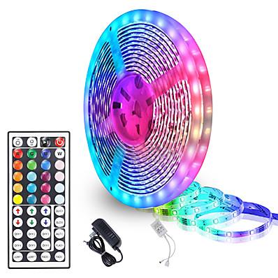 abordables Bandes Lumineuses LED-zdm 5 mètres de bandes lumineuses à led flexibles étanches 90x5050 rgb smd leds ir 44 contrôleur clé avec kit d'installation et kit adaptateur 12v