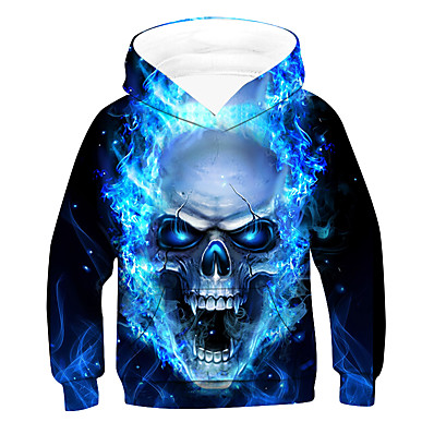 cheap Kids-Kids Boys' Hoodie & Sweatshirt Long Sleeve Black 3D Print Skull Pocket Blue Children Tops Active Basic Cool Children's Day 2-12 Years
