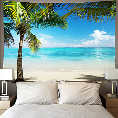 cheap Wall Art-Wall Tapestry Art Deco Blanket Curtain Picnic Table Cloth Hanging Home Bedroom Living Room Dormitory Decoration Polyester Fiber Beach Series Coconut Tree Blue Sea White Cloud Blue Sky